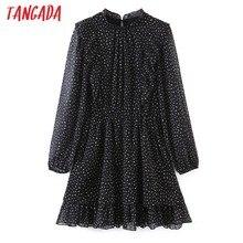 Tangada – Mini robe en mousseline de soie, à volants, manches longues, boutons au dos, pour femmes, SL148