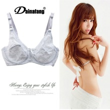 Sexy underwear transparent breathable lace bra large size full cup ultra-thin comfortable gathered