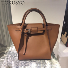 Women Large Capacity Trapeze Bag Genuine Leather Shoulder Tote Bags 2020 England Style Hand Bag стоимость