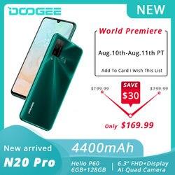 DOOGEE N20 Pro мобильных телефонов Quad Камера Helio P60 Octa Core 6 ГБ Оперативная память 128 Гб Встроенная память телефона глобальная версия 6,3 дюймFHD + безрамочн...