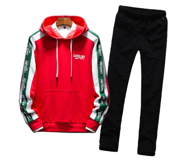 Men Hoodies Hooded Long Sleeve Fall Spring Hip Hop Sport Tracksuit Coat Jacket Trousers Pants Suit Outfit 2PC