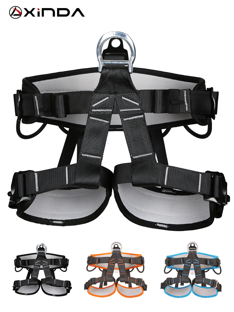 XINDA Camping Outdoor Hiking Rock Climb Half Body Waist Support Safety Belt  Wider Harness for Mountaineering Aerial Equipment