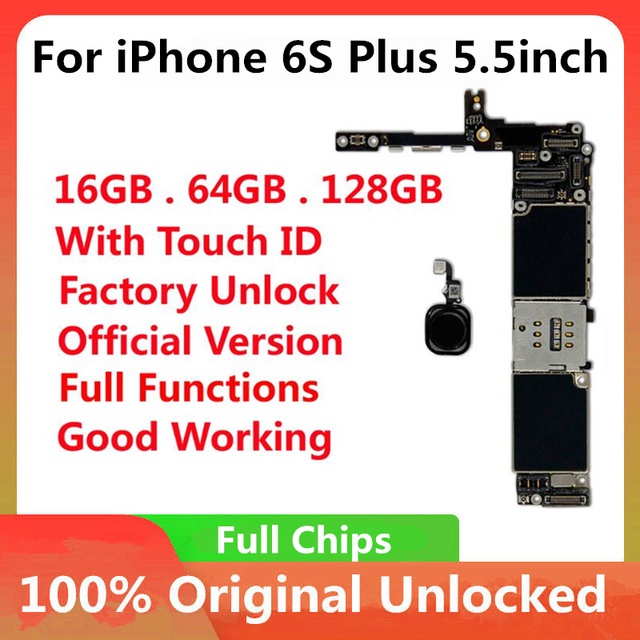 For iPhone 6S Plus 5.5inch Original Motherboard Factory Unlock Mainboard With Touch ID Full Functions IOS Update Support