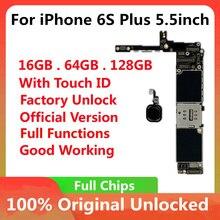 Placa base Original para iPhone 6S Plus, 5,5 pulgadas, desbloqueado de fábrica, con funciones completas de ID táctil, compatible con actualización de IOS