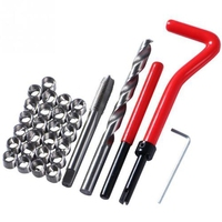 30Pcs M6 Tap Wrench Cutter Repair Kit Hand Tools Red Thread Wire Insert Stainless Steel Small Wrench Repairing Tool Kit|Nut & Bolt Sets| |  -