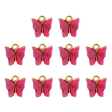 JUST FEEL 10Pcs/set 10 Colors Butterfly Charms Diy Hand Made