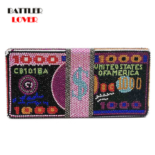 Stack of Cash Funny Money Bag Women Crystal Box Clutch Evening Bags Ladies Cocktail Party Purses and Handbags Fashion Dollar