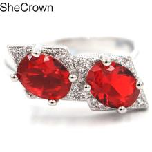 22x14mm 7.75# Pretty Red Blood Ruby White CZ Womans Party Silver Ring