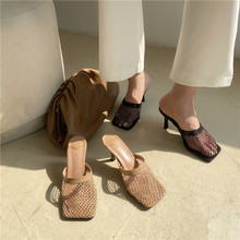 Women Sandals Slippers Thin High Heels Slides Mules Shoes Fa