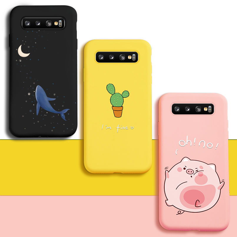 Cute Cat Dog Case For Samsung Galaxy S10 Case Cover 3D Relief Animal Silicone Bumper For Galaxy S8 S9 Plus S10e Note 8 9 J8 Case in Fitted Cases from Cellphones Telecommunications