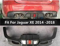 Z włókna węglowego tylny zderzak wargi Auto samochód dyfuzor z lampa pasuje do Jaguar XE 2014 2015 2016 2017 2018