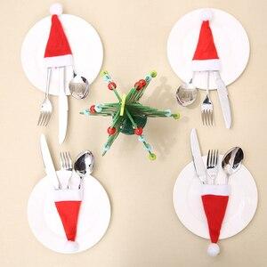 Image 5 - 2 Chiếc Giáng Sinh Bộ Đồ Ăn Dao Muỗng Nĩa Giá Đỡ Dao Kéo Túi Ông Già Noel Nai Sừng Tấm Người Tuyết Nón Đồ Dùng Trang Trí Giáng Sinh Nhà Ăn Tối Trang Trí Bàn
