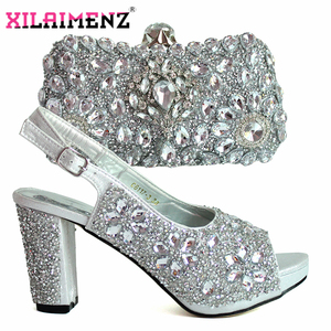 Image 3 - Latest Italian Women Decorate with Rhinestone Matching Shoes and Bag Set in Sliver Color High Quality Shoes Matching Bag For Wed