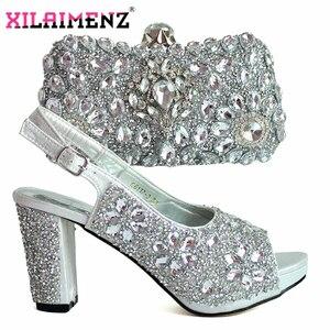 Image 3 - 최신 이탈리아 여성은 라인 석 매칭 신발과 가방 세트 슬리버 컬러로 장식 고품질의 신발 wed에 대한 가방을 일치