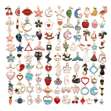 100pcs Mixed Enamel Charms for Jewelry Making Craft DIY Allo