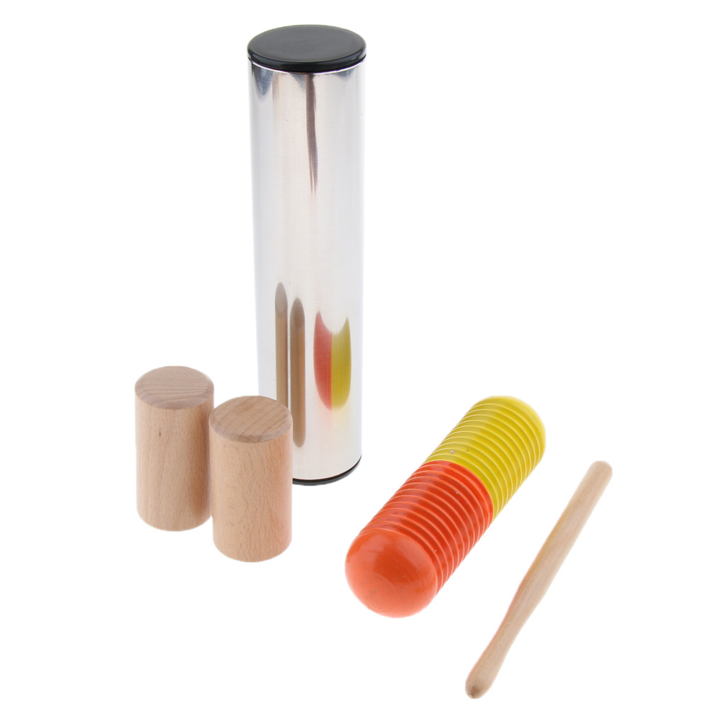 5pcs/set Wooden Maracas Rattle Sand Cabasa Shaker For  Musical Education-Cylinder Metal Shaker For Percussion  Children