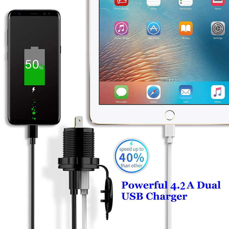 Adaptador de salida de alimentación de enchufe cargador Dual USB 4.2A, 5V, a prueba de agua, puertos USB duales, carga rápida para Smartphone, coche, barco marino D5