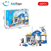 Boy Building Blocks Police 66 Block Police Car Airplane City Series Assembled Early Childhood Educational Large Particles CHILDR