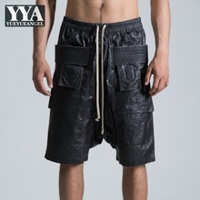 Motorcycle Shorts Mens Loose Straight Lace Up Casual Sweatpants Fashion Male Biker Drop Crotch Knee Length Cargo Harem Trousers