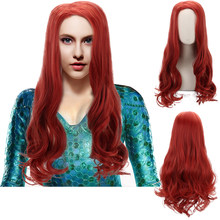 Comic Movie Mera Aquaman Burgundy Brown Ombre Long Wavy Cosplay Synthetic Hair Wigs for Women Men Party Costume Halloween(China)