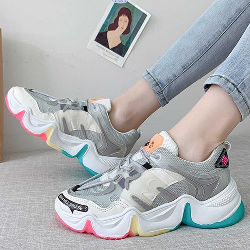 SWQZVT 2020 Cầu Vồng Dành Cho Nữ Thoáng Khí Phẳng Nền Tảng Giày Thời Trang Mùa Hè Thu Cột Dây Thể Thao Lưới Nữ Giày Nữ
