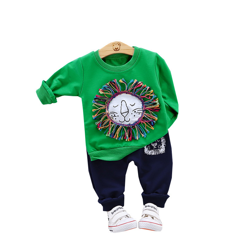 New Children Cotton Clothes Spring Autumn Baby Boy Girls Cartoon T Shirts Pants 2Pcs/sets Outfit Kids Fashion Toddler Tracksuits