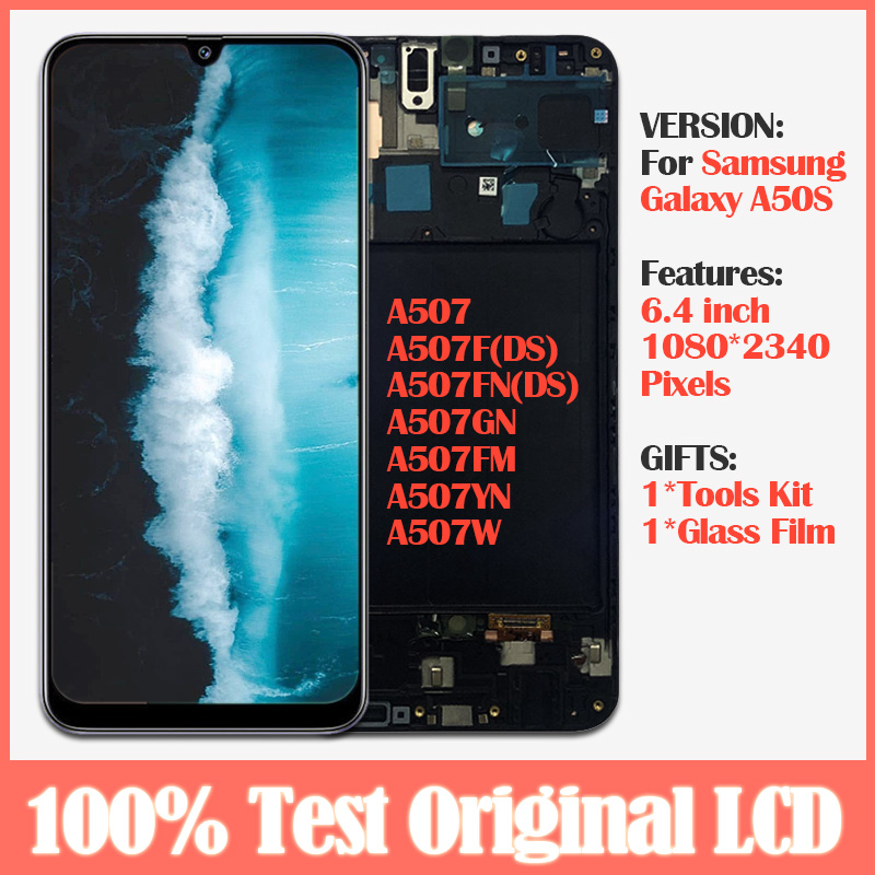 Original LCD For Samsung Galaxy A50 SM-A505F/DS A505 LCD Display Touch Screen Digitizer Assembly With Frame For Samsung A50 lcd image