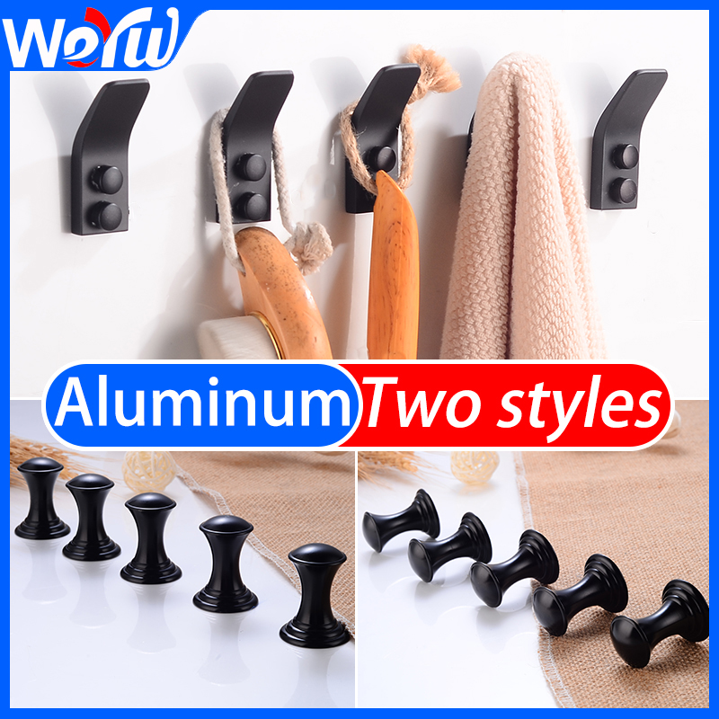 Black Robe Hooks Key Aluminum Bathroom Towel Hook Wall Mounted Decorative Clothes Coat Hooks Rack Bathroom Hardeare