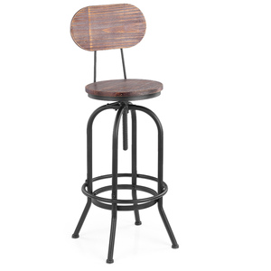 iKayaa Industrial Style Bar Stool Height Adjustable Swivel Kitchen Dining Chair Pinewood Top + Metal With Backrest Bar Stool