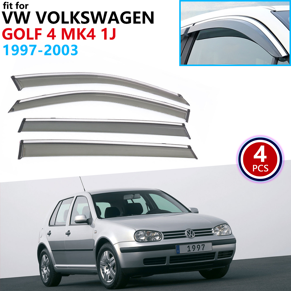 For VW Volkswagen Golf 4 MK4 1J 1997~2003 Window Visor Vent Awnings Rain Guard Deflector Shelters Car Accessories 1998 1999 2000