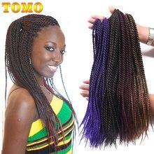TOMO, 14, 16, 18, 20, 22 дюйма, Омбре, синтетические, на крючках, косички, волосы, 30 прядей/упаковка, Сенегальские, закрученные, косички, волосы для наращивания, черный, красный