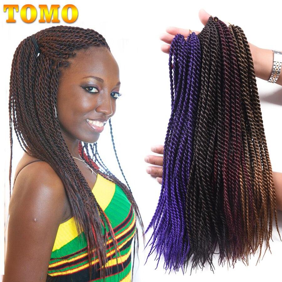 TOMO 14 16 18 20 22 cale Ombre szydełkowe warkocze syntetyczne włosy 30 nici/paczka senegalskie doczepy ze skręcanych splecionych włosów czarny czerwony