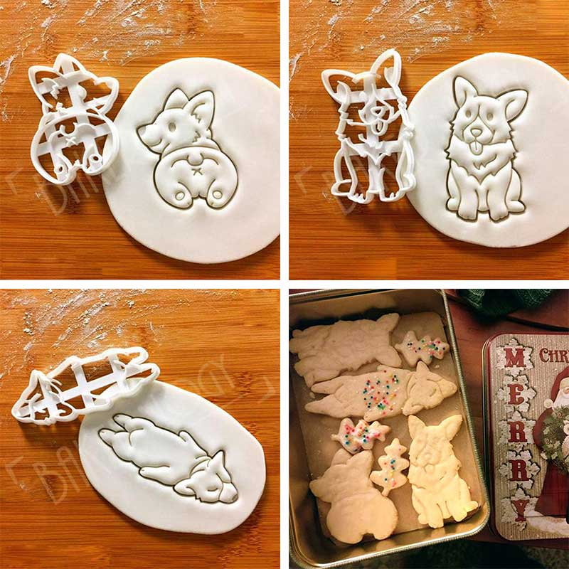 Cute Corgi Dog Shaped Cookie For Bakeware Hand Kitchenware Type DIY Mold 3Pcs/set 3 Tool Cutters Kids  Mold