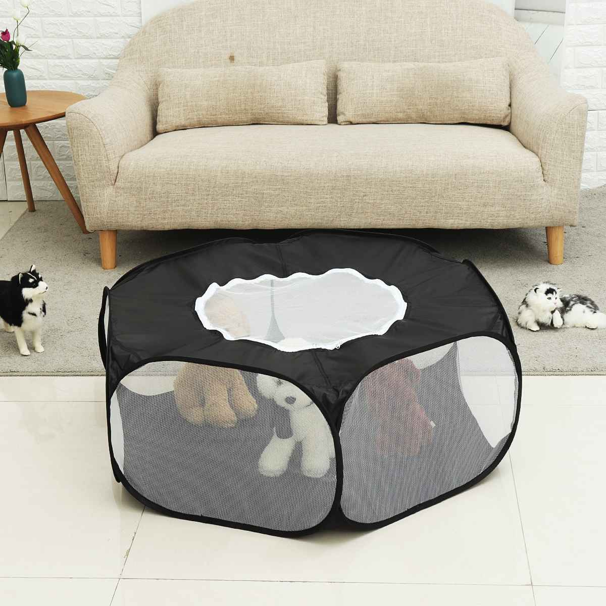 <font><b>Portable</b></font> Pet Cage <font><b>Dog</b></font> Removable And Washable Folding Tent Polyester Reptile Cat Cage <font><b>Kennel</b></font> Fence Outdoor Waterproof Pet Tent image