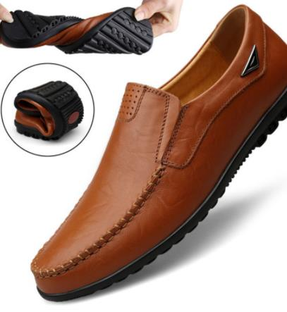 Genuine Leather Men Casual Shoes Comfortable Men Shoes Leather Formal Breathable  Leather Shoes Men Moccasins For Big Size 46