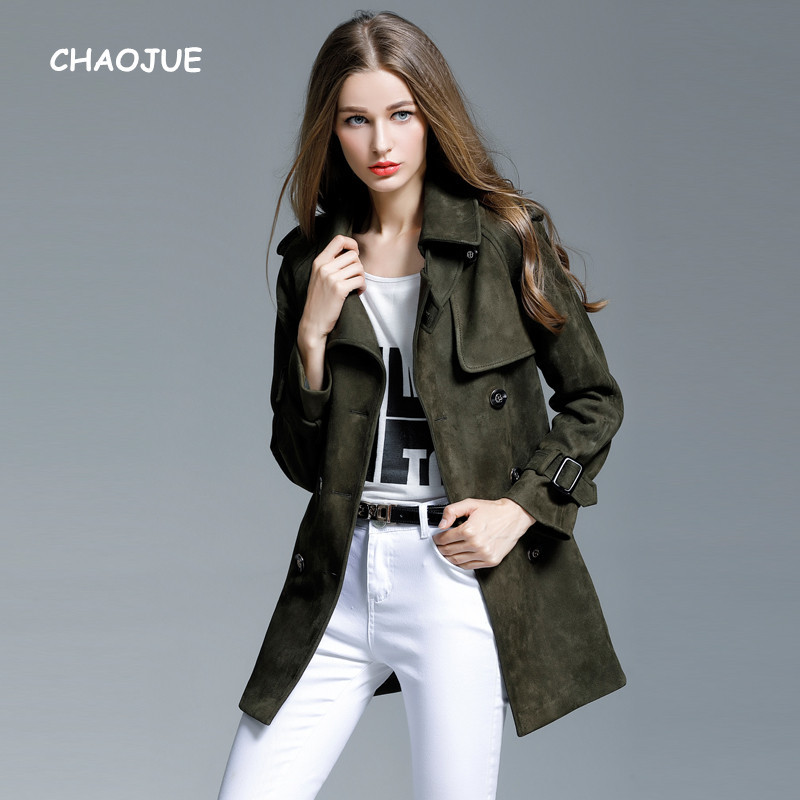 CHAOJUE Brand 2018 Fall/Winter Office Lady Suede Coat New Arrivals Loose 4XL Medium-length   Trench   Women Double Breasted Overcoat