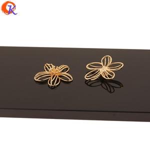 Image 4 - Cordial tasarım 30 adet 26*28MM takı aksesuarları/takılar/çiçek şekli/hakiki altın kaplama/el yapımı/küpe bulguları/DIY yapma