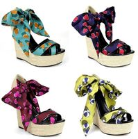 35~43 Women Wedge Sandals Female Platform Bohemia High Heel Sandals Fashion Ankle Satin Lace Up Ladies Shoes Zapatos De Mujer