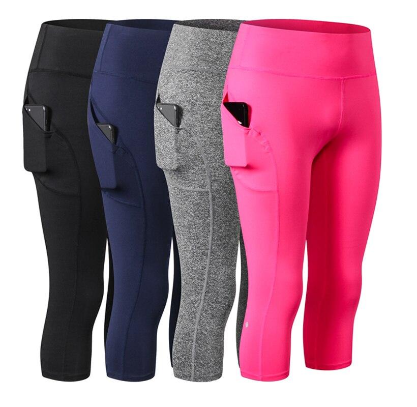 Women Capri For Sport High Slim Waist Pocket Leggings 3/4 Yoga Compression Running Tights Gym Pants Fitness Clothing Sportswear