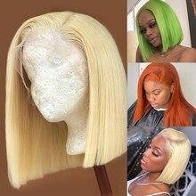 Luvin encerramento peruca 613 loira 13x4 hd transparente frente do laço perucas de cabelo humano em linha reta brasileiro curto bob peruca frontal preto mulher
