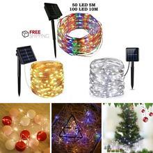 60/100 светодиодный светильник на солнечной батарее, Сказочная гирлянда, светильник из медной проволоки, наружная Водонепроницаемая Рождественская гирлянда, светильник, декор для сада