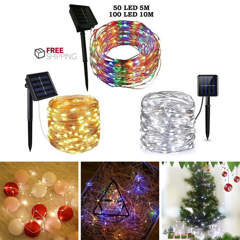 60/100 LED Solar String Light Fairy Garland Copper Wire Light String Outdoor Waterproof Christmas Garland Lighting Garden Decor