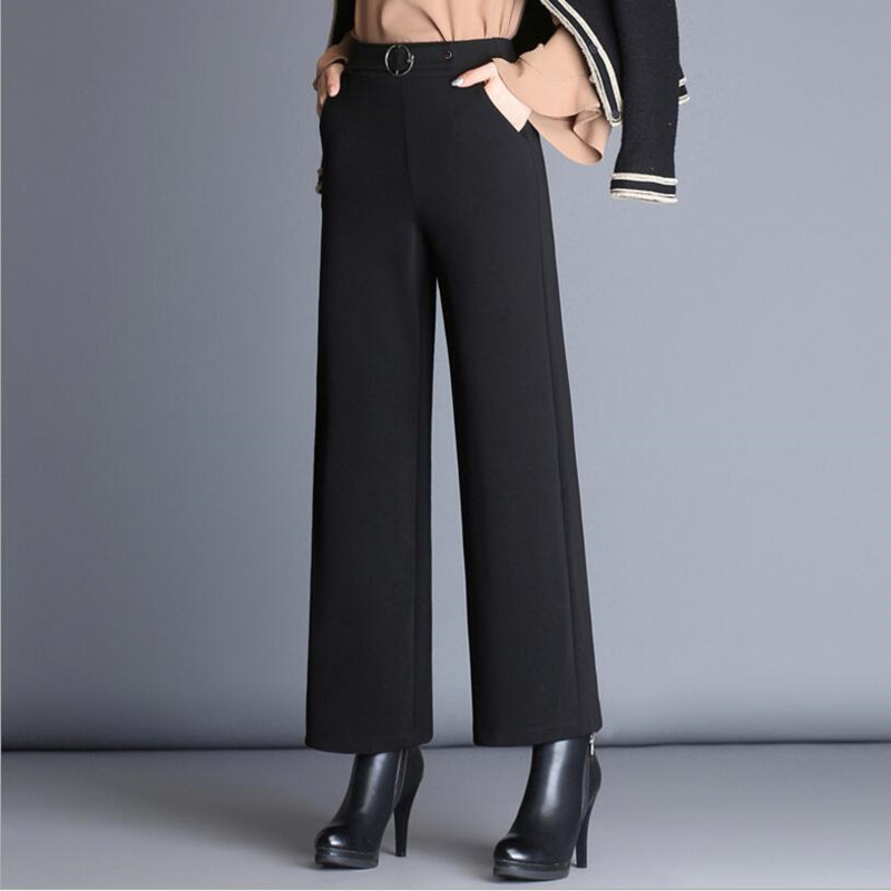 New 2019 Women Autumn Wide Leg   Pants   Female High Waist Black   Pants     Capris   Casual Professional Trousers   Pants   Women S411