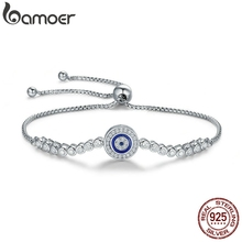 BAMOER autentyczne 925 srebro niebieskie oko bransoletka tenisowa dla kobiet regulowany łańcuszek bransoletka srebro biżuteria SCB033
