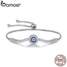 BAMOER otantik 925 ayar gümüş mavi göz tenis bilekliği kadınlar için ayarlanabilir zincir bilezik gümüş takı SCB033