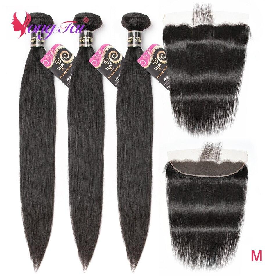 Yuyongtai extensão do cabelo em linha reta 3 pacotes com 1 frontal malaio não remy do cabelo com laço frontal 13*4