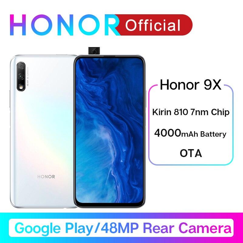 Google Play Honor 9X Kirin 810 7nm Octa Core Smartphone 48MP Dual Camera 6.59