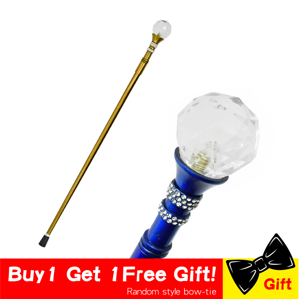 Women Fashion Walking Stick Cane Lady Beauty Queen Cane Golden Diamond Crutch Sea Scepter Emblem Canes Crutch For Women 93cm