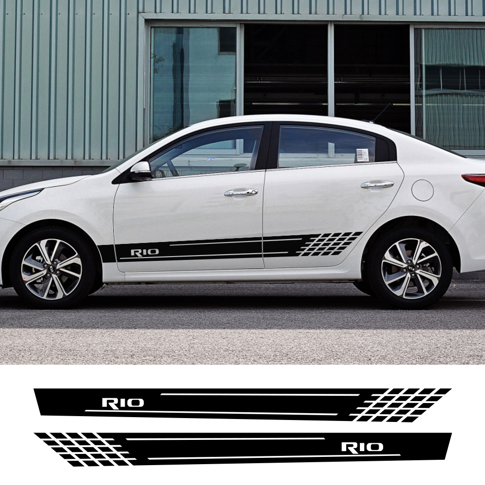 2PCS Car Decor Decals For Kia Rio 3 4 K2 K3 X-Line Auto Door Side Skirt Stripes Stickers Reflective Auto Vinyl Films Accessories