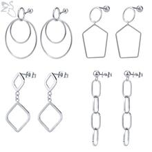 ZS 1 Pair Statement Drop Earrings 2019 Geometric Stainless Steel Earring For Women Girls Korean Hanging Dangle Jewelry